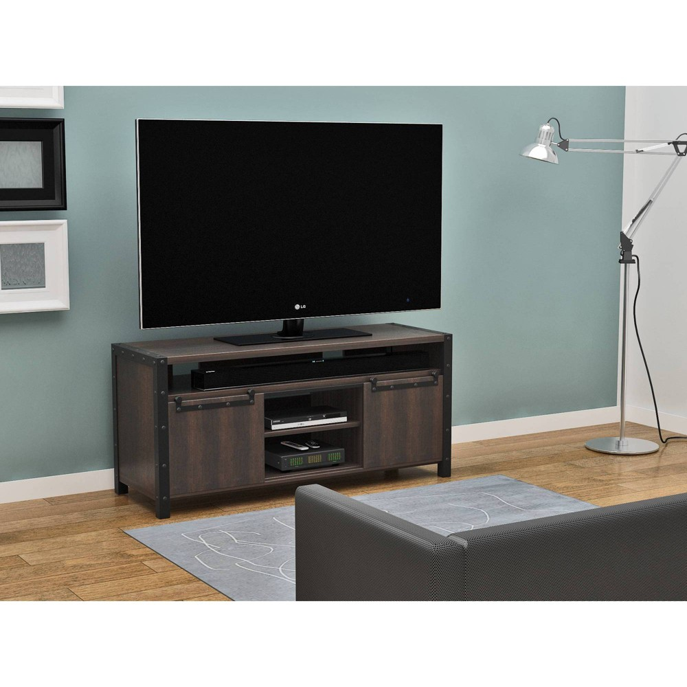 "Image of ""60"""" Clover TV Stand Rustic Gray - Monroe + James, Brown"""