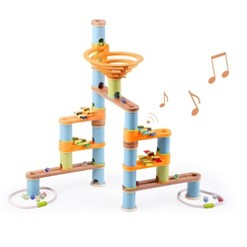 Fat Brain Toys Bamboo Builder Marble Run with Music - 127pc