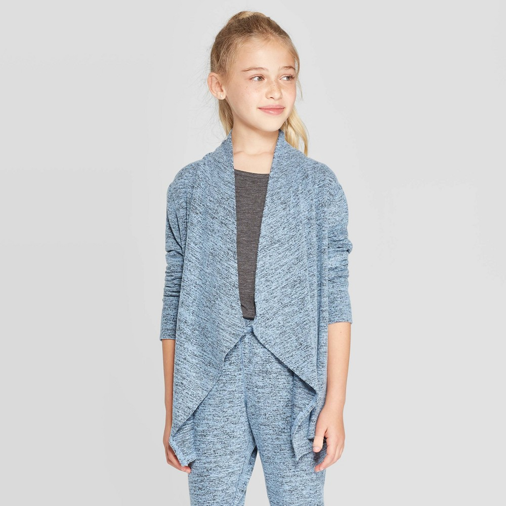 Image of Girls' Studio Cardigan - C9 Champion Heather Blue L, Girl's, Size: Large, Grey Blue