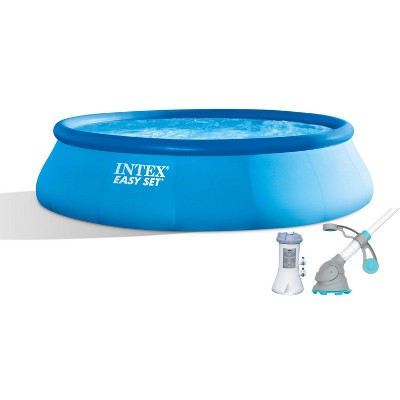 Intex 15ft x 42in Easy Set Inflatable Round Family Swimming Pool & Pump, Vacuum