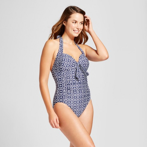 Women's Tall/Long Torso Shirred Halter One Piece - Merona™ - image 1 of 2