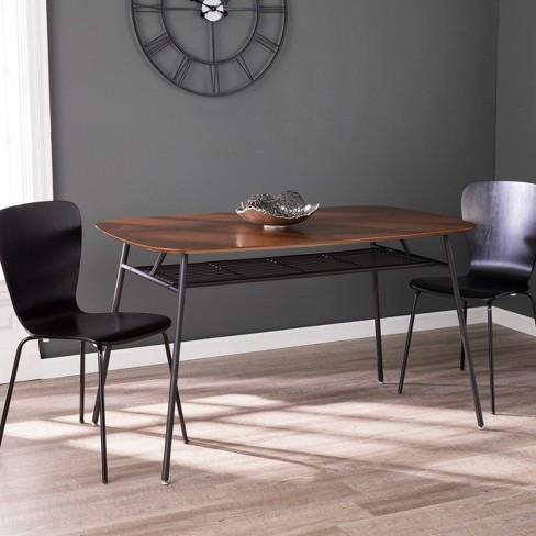 Henen Mid-Century Modern Dining Table Walnut/Black - Aiden Lane