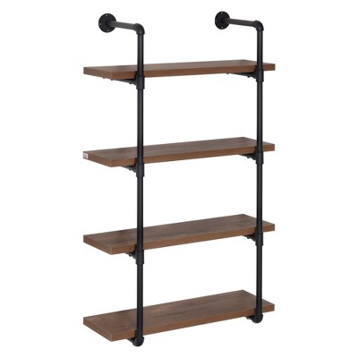 """HOMCOM 4-Tier Industrial Shelves Pipe Style Floating Wall Bookshelf Metal Frame Display Rack 1.25"""" Thickness Shelving Unit for Farmhouse Kitchen Bar"""