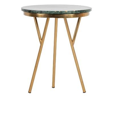 Coletta Round Marble Accent Table Dark Green/Black/Gold   Safavieh