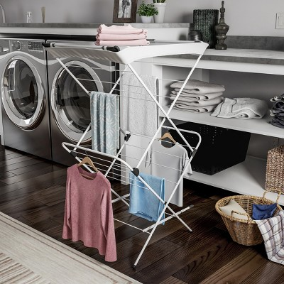 Clothes Drying Rack - 2 Tiered Laundry Sorter with Rust Resistant Metal Frame and Nylon Mesh Top for Folding and Hanging Garments by Hastings Home