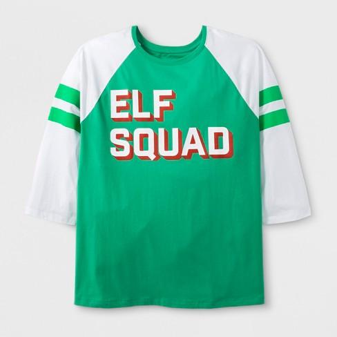 6bcd2f874 Women's Plus Size 3/4 Sleeve 'Elf Squad' T-Shirt - Green : Target