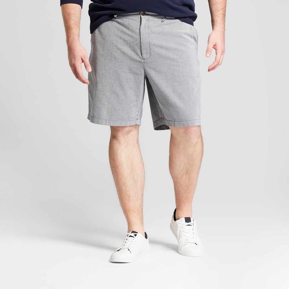 Men's Big & Tall 9 Striped Linden Flat Front Chino Shorts - Goodfellow & Co Blue 52, Williamsburg Navy