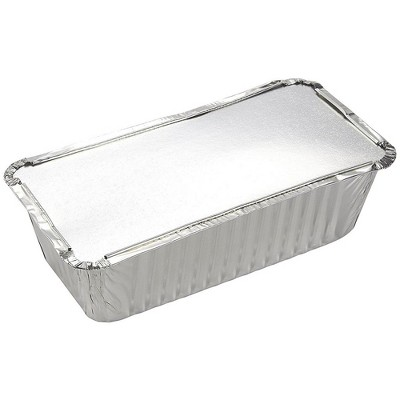 Juvale 50-Pack Disposable Aluminum Foil Loaf Pans 22 Oz Bread Baking Tins with Lid 8.5 x 2.5 x 4.5 in