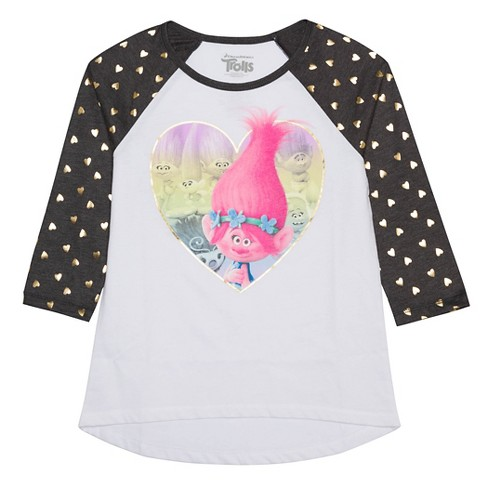 Girls' Trolls 3/4 Sleeve T-Shirt - White - image 1 of 1