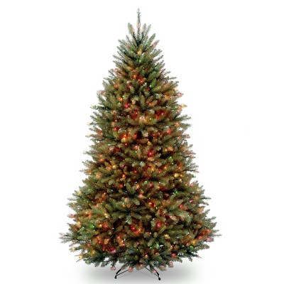 6.5ft National Christmas Tree Company Pre-Lit Dunhill Fir Hinged Artificial Christmas Tree with 650 Multi Lights