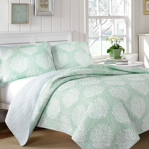 Aqua Coral Coast Quilt Set - Laura Ashley - image 1 of 3