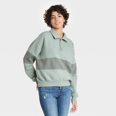 Women's Quarter Zip-Up Pullover Sweatshirt - Universal Thread™
