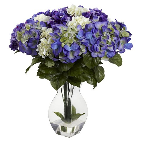 Nearly Natural Mixed Hydrangea with Vase - image 1 of 1
