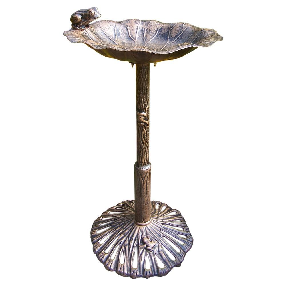 """Image of """"35"""""""" Frog Birdbath - Antique Bronze"""""""