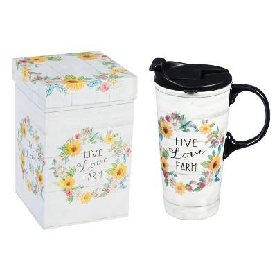 Evergreen Ceramic Travel Cup, 17 OZ. ,w/box, Live Love Farm