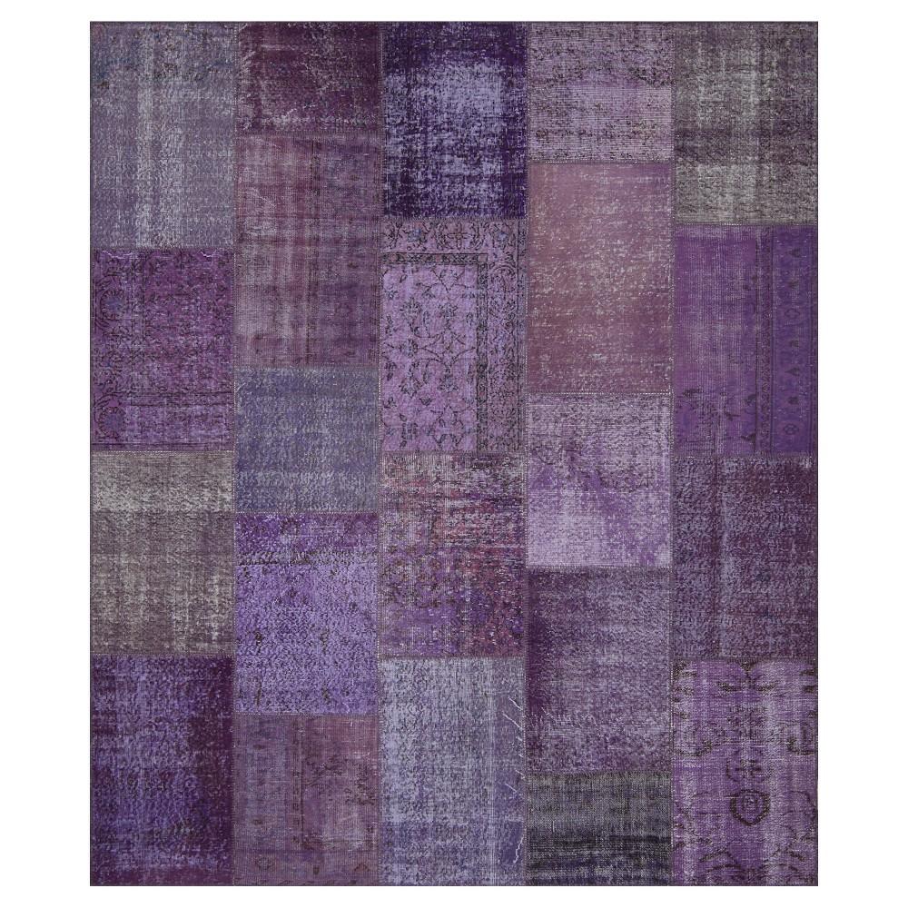 "Image of ""Antique Patchwork Area Rug Purple 8'2""""x 9'10"""", Pale Purple"""