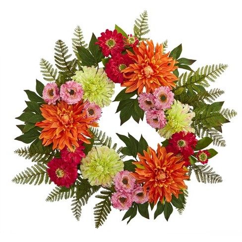 """20"""" Artificial Dahlia and Greenery Wreath - Nearly Natural - image 1 of 3"""