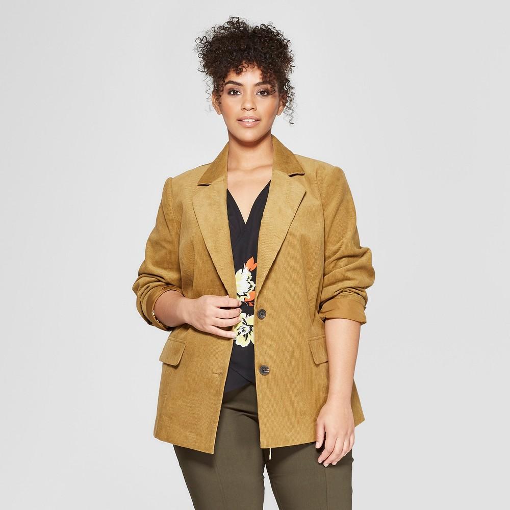 Women's Plus Size Corduroy Blazer - Who What Wear Brown 4X