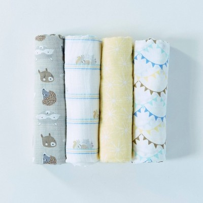 Patina Vie 100% Cotton Woodland Friends Swaddle Set - 4pc