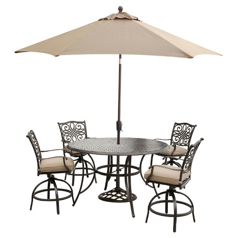 Traditions 7pc Round Metal Patio Dining Set w/ 9' Umbrella & Stand - Tan - Hanover - image 1 of 8