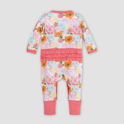 cb86a34aa3027 Burt's Bees Baby® Baby Girls' Organic Cotton Blooming Colors Floral Ruffled  Coverall - White/Red : Target