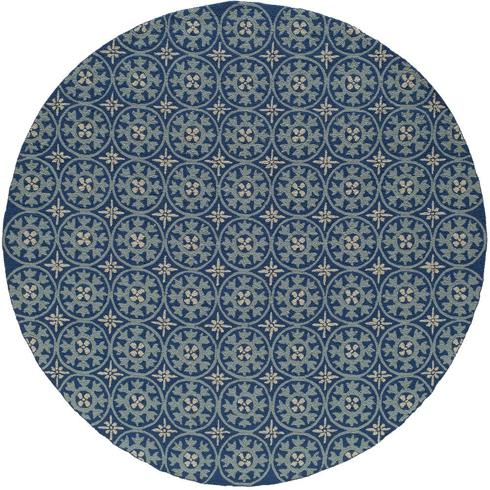 9'X9' Geometric Hooked Round Area Rug Blue - Momeni