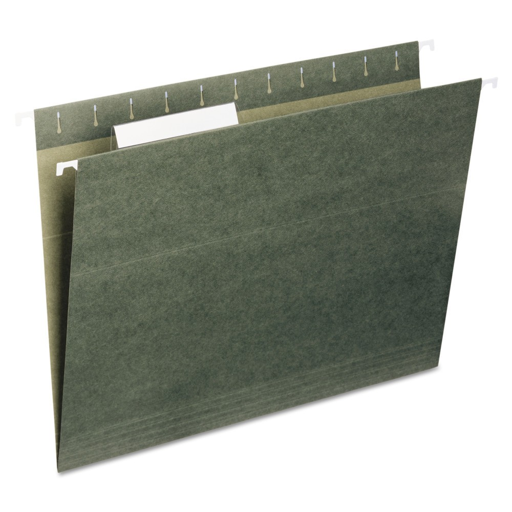 Universal Hanging File Folders, 1/5 Tab, 11 Point Stock, Legal, Standard Green, 25/Box
