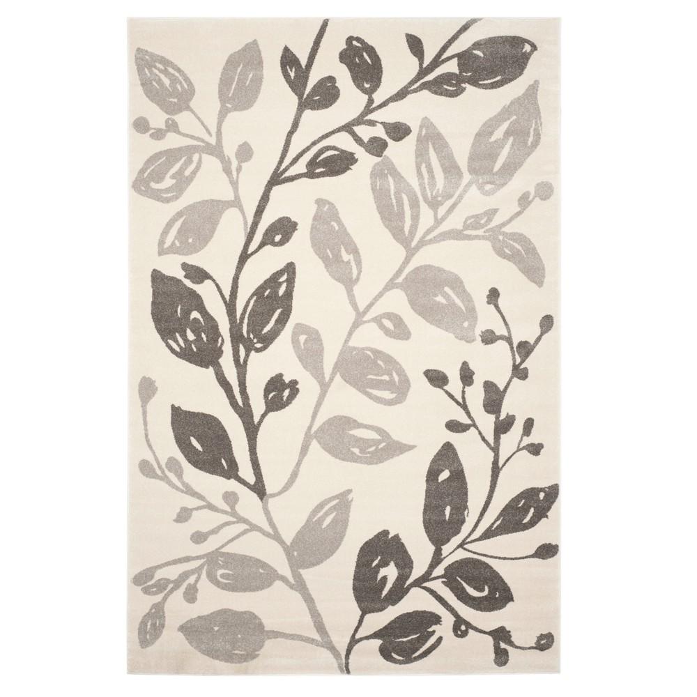 Ivory/Gray Leaf Loomed Area Rug 6'7