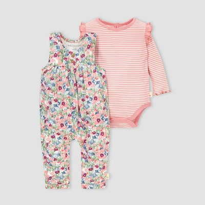 Burt's Bees Baby® Baby Girls' Organic Cotton Flower Fields Jumpsuit and Bodysuit Set - Pink 3M