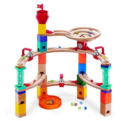 Hape E6019 Castle Escape Quadrilla Multi-Color Wooden Marble Educational Toy Run Construction Building Set for Ages 4 & Up, 101-Piece