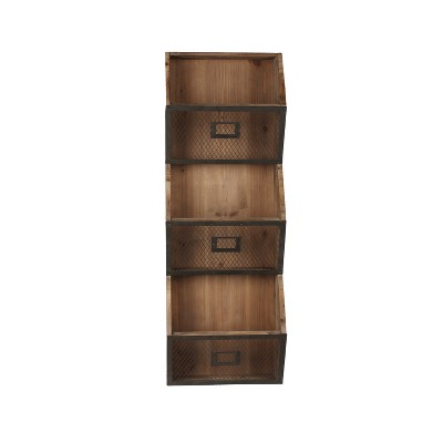 Wall Shelf 2-Tiers with 5 Hooks Black/Brown