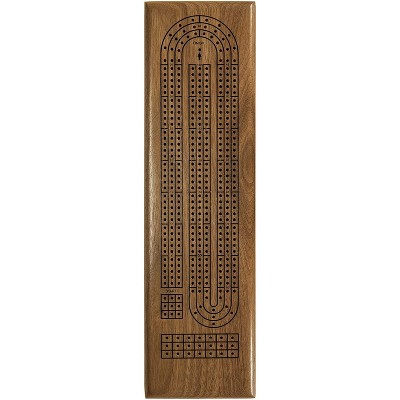 WE Games Solid Walnut Wood Classic Cribbage Set (Made in USA), Continuous 3 Track Board with Metal Pegs