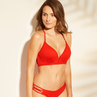 view Women's Dream Lightly Lined V Wire Ribbed Bikini Top - Shade & Shore Red on target.com. Opens in a new tab.