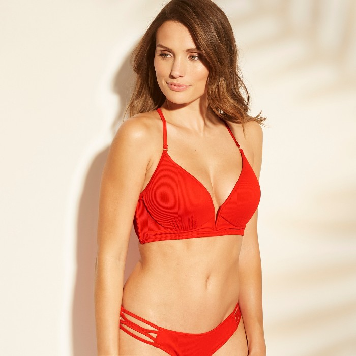 Women's Dream Lightly Lined V Wire Ribbed Bikini Top - Shade & Shore™ Red - image 1 of 4