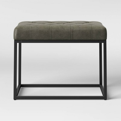 Trubeck Tufted Metal Base Ottoman Faux Leather Gray/Black - Project 62™