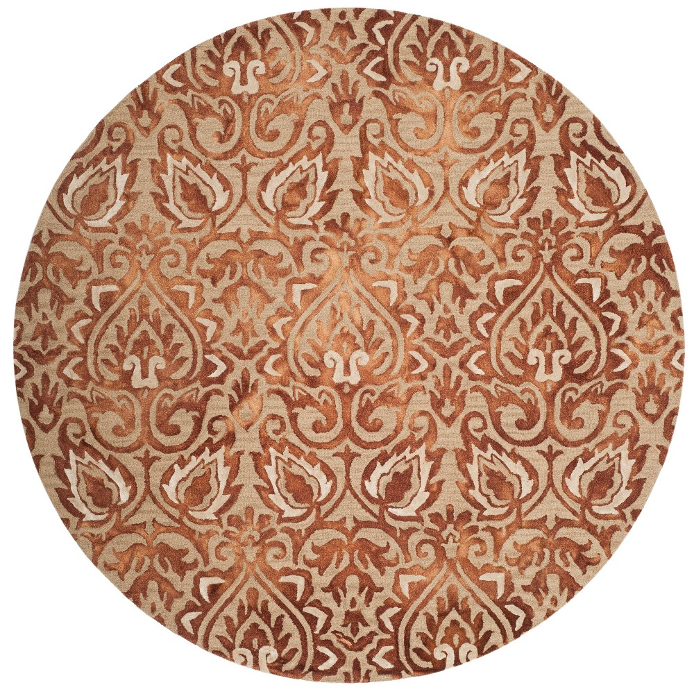 7' Damask Tufted Round Area Rug Copper/Beige (Brown/Beige) - Safavieh