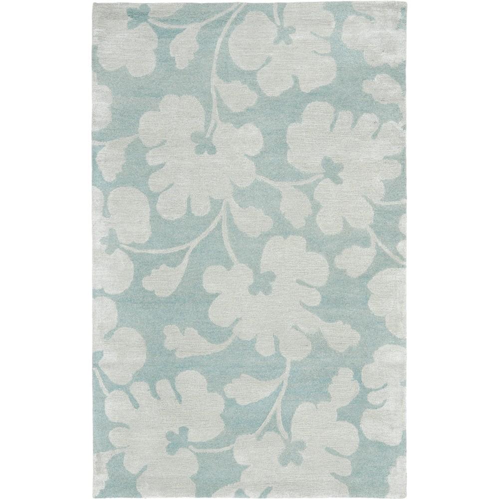 5'X8' Leaf Tufted Area Rug Light Blue/Silver - Safavieh