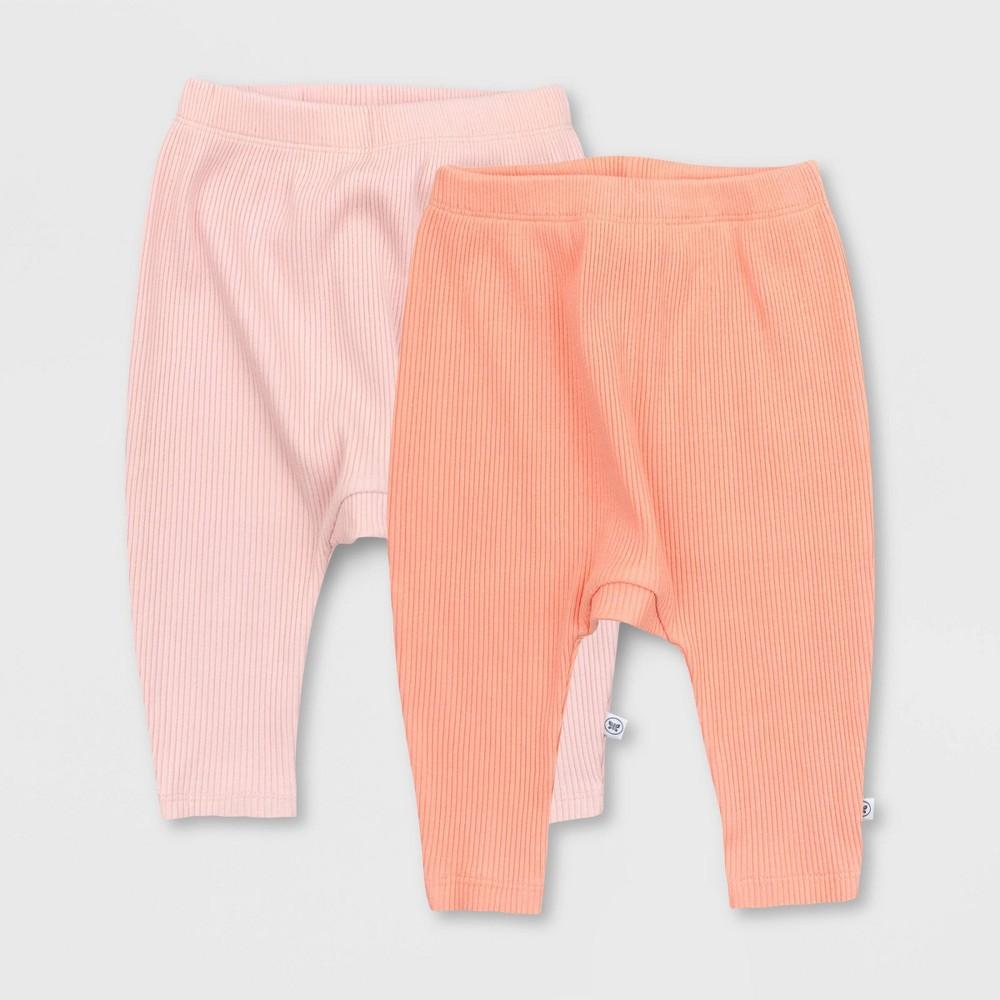 Honest Baby Girls 39 2pk Organic Cotton Chunky Rib Harem Pull On Pants Pink 18m