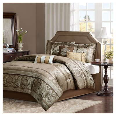 Mirage 7 Piece Polyester Jacquard Comforter Bedding Set with Bedskirt