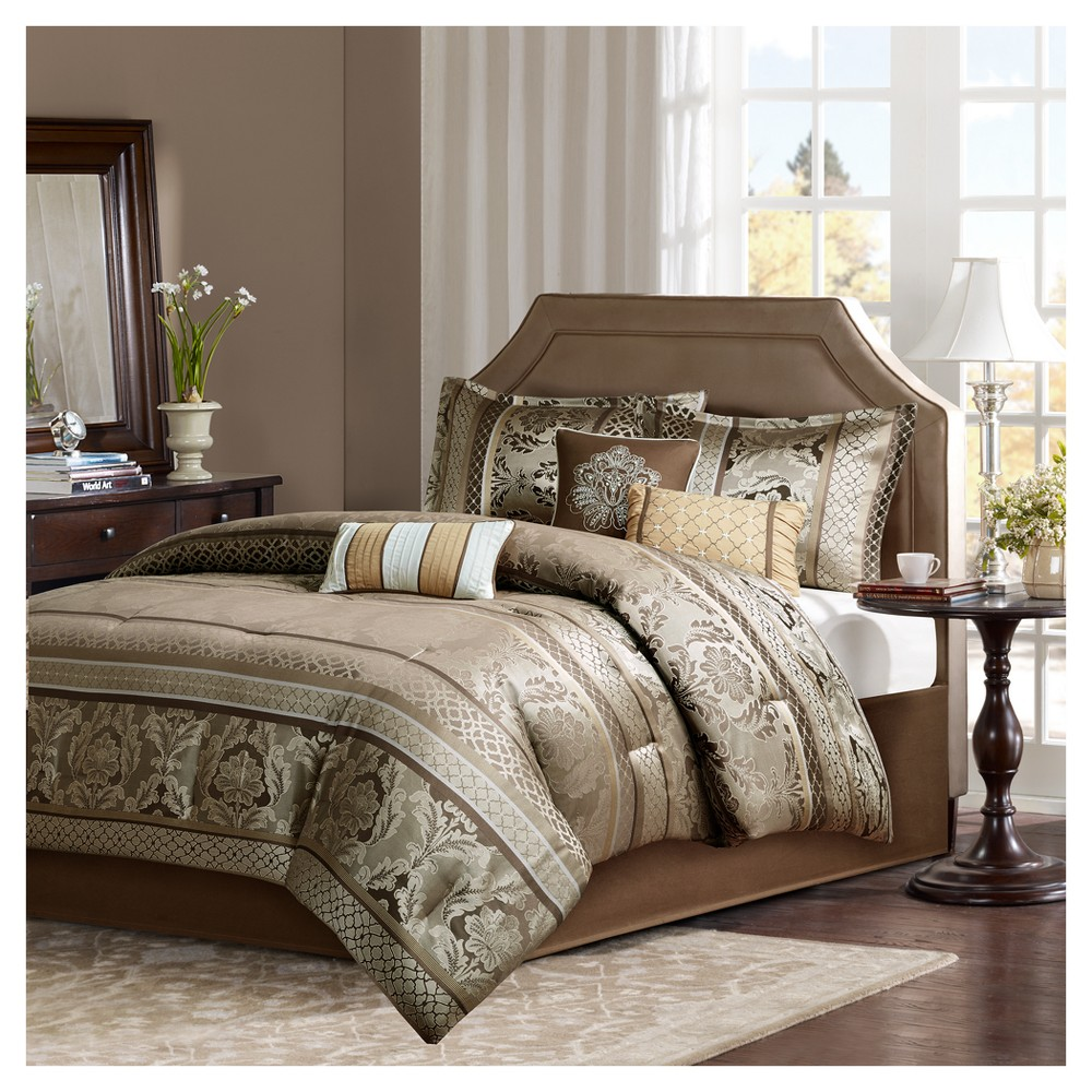 Mirage 7 Piece Polyester Jacquard Comforter Bedding Set with Bedskirt, Brown/Gold
