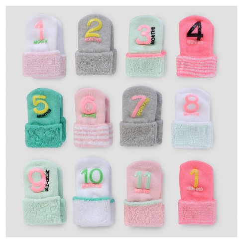 Baby Girls 12pk Monthly Milestone Terry Cuff Sock Just One You