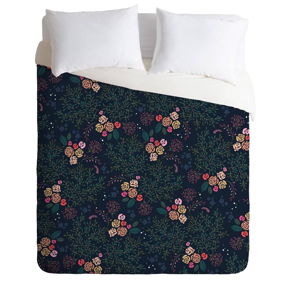 Queen Full Iveta Abolina Camellia Floral Garden Comforter Set Green Deny Designs