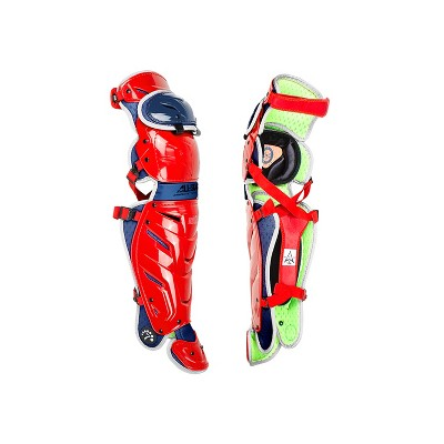 All-Star Sports LG40WPRO USA S7 Axis Pro Adult Baseball Catcher Leg Guards Protective Gear with LINQ Hinge System and D3O Padding, Red/Blue