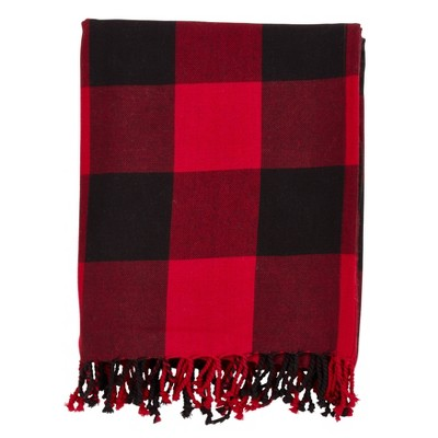Buffalo Plaid Throw Blanket Red - Saro Lifestyle