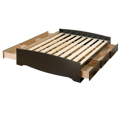 6 drawer Platform Storage Bed - Queen - Black - Prepac