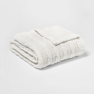 Solid Cable Knit Chenille with Sherpa Reverse Throw Blanket Cream - Threshold™