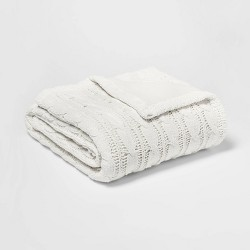 Solid Cable Knit Chenille with Sherpa Reverse Throw Blanket - Threshold™
