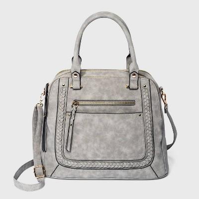 VR NYC Woven Trim Satchel Handbag - Light Gray
