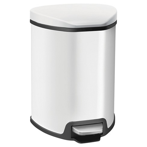 EKO® Grace Stainless Steel Space Saver Step Bin - White/Black (5 litres) - image 1 of 1