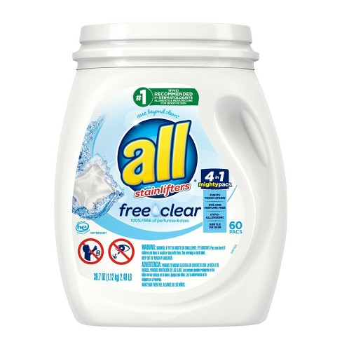 All Mighty Pacs Free Clear Laundry Detergent Pacs - 60ct - image 1 of 3
